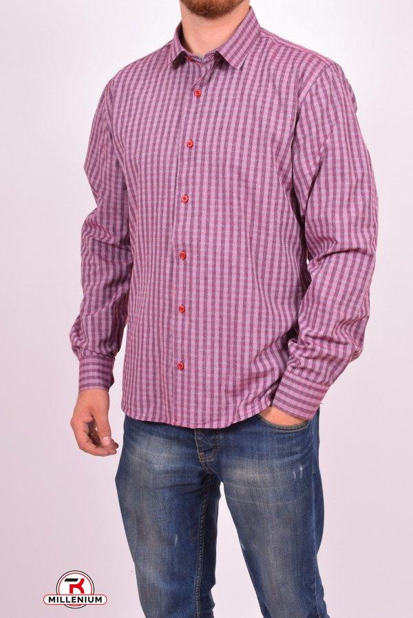 Рубашка мужская  (цв.бордовый) (slim fit)  businessX (Cotton 70%,Polyester 30%) Размеры в наличии : 44,46,48 арт.полоска