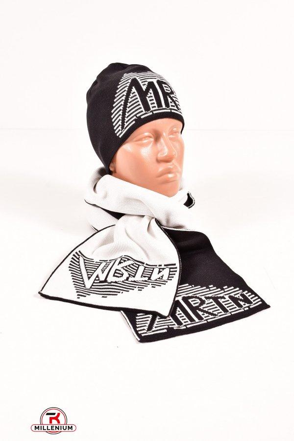 Шапка+шарф вязаный мужской (цв.черный/белый) MARATON (Acryl 50%,Cotton 50%) арт.614-A