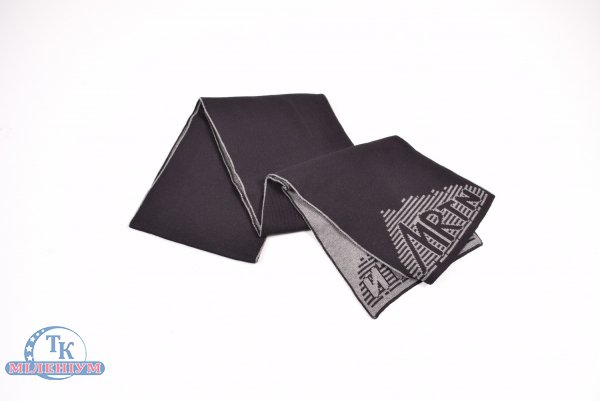 Шарф вязаный мужской (цв.черный/т.серый) MARATON (Acryl 50%,Cotton 50%) арт.614-A