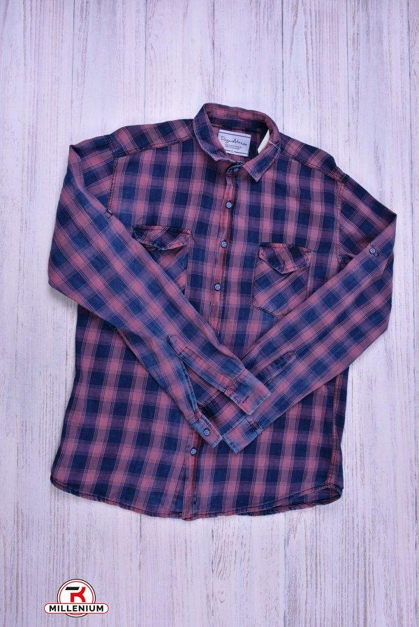 Рубашка мужская (цв.синий/коралловый)  DOFE Размеры в наличии : 40,42,44,46 арт.10.2