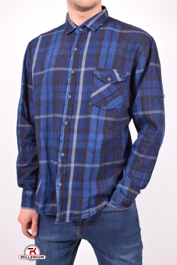 Рубашка мужская (цв.синий/черный) DOFE (95% котон, 5% лукра) Размеры в наличии : 40,42,44,48 арт.11.1