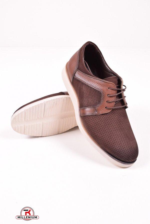 Туфли мужские из натуральной кожи (цв.коричневый) TKN Размеры в наличии : 40,41,42,43 арт.099