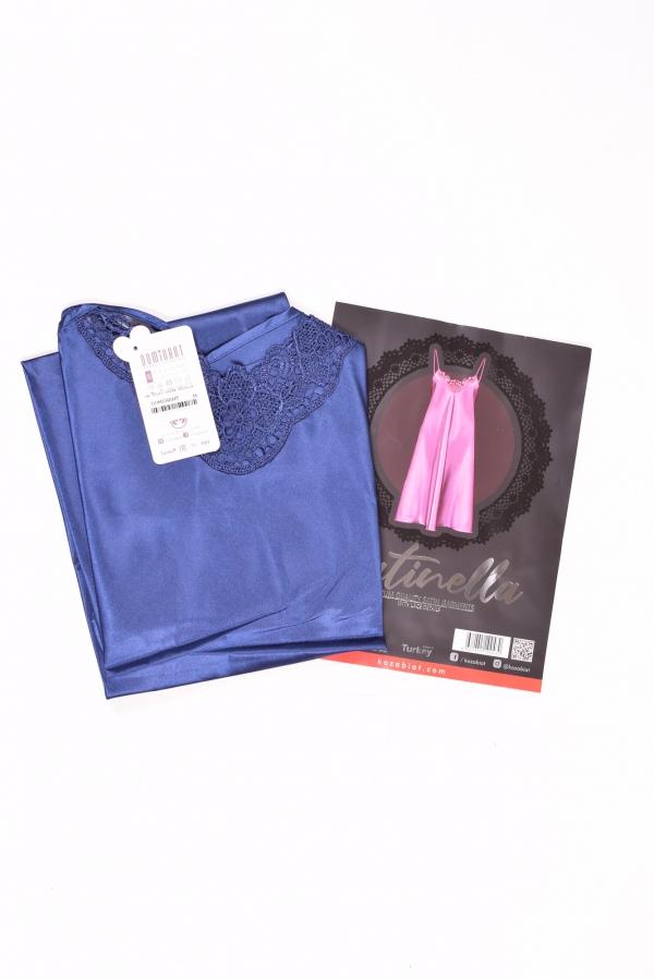 Ночная рубашка (цв.синий) женская атласная Dominant Размеры в наличии : 46,48,50 арт.10043