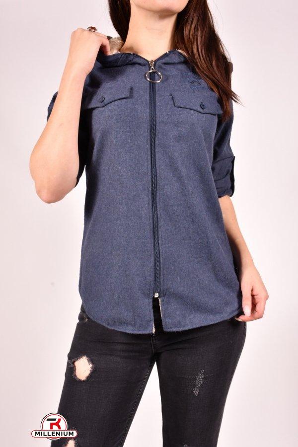 Рубашка женская байковая на меху (цв.синий) Rimoda Размеры в наличии : 40,42,44,46 арт.7597