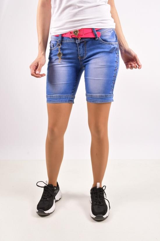 Шорты джинсовые женские стрейчевые с поясом  ZYH JEANS Размеры в наличии : 25,26,27,28,29,30 арт.89086