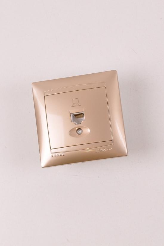 Розетка одинарная компьютерная (цв.золотой) Lemanso арт.LMR1228