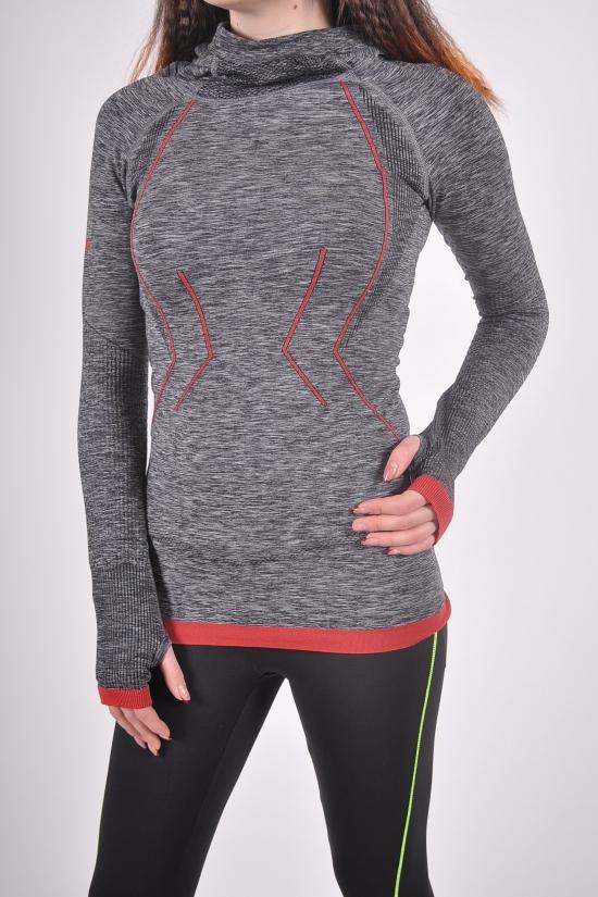 Толстовка женская спортивная эластиковая (цв.серый/красный) Maraton Размеры в наличии : 46,48 арт.SML1104