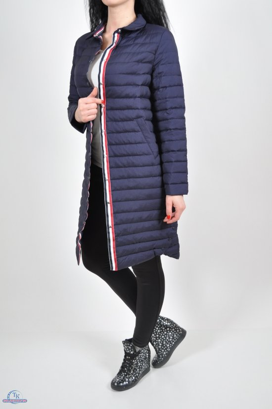 Пальто женское (цв.тёмно-синий) из плащёвки демисезонное (наполнитель пух) ультра лёгкое Размер в наличии : 40 арт.S