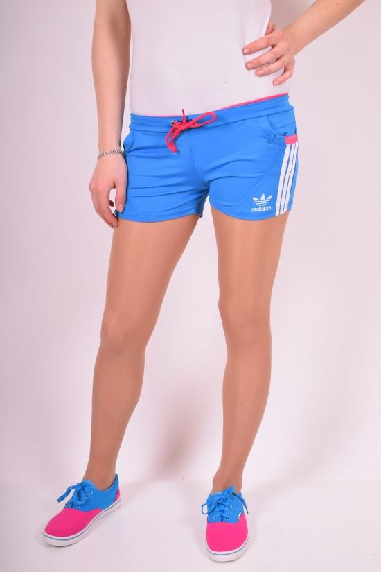 Шорты женские эластиковые (цв.голубой)  Adidas Размеры в наличии : 38, 40, 42, 44, 46 арт.04