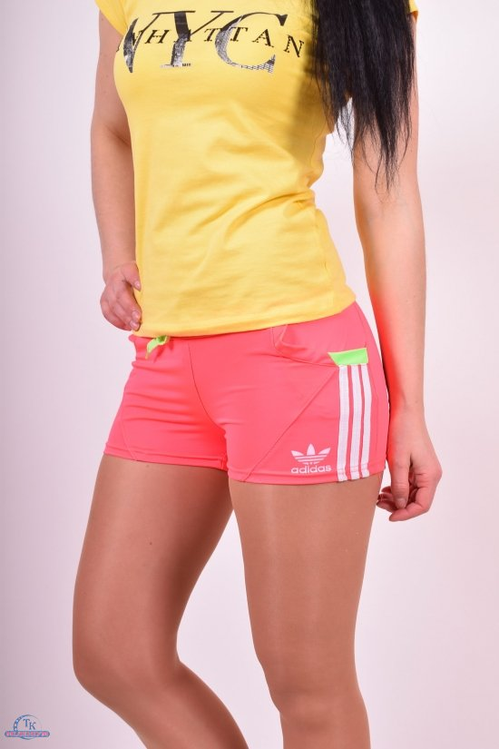 Шорты женские эластиковые (цв.розовый/салатовый)  Adidas Размеры в наличии : 38,40,42,44,46 арт.04