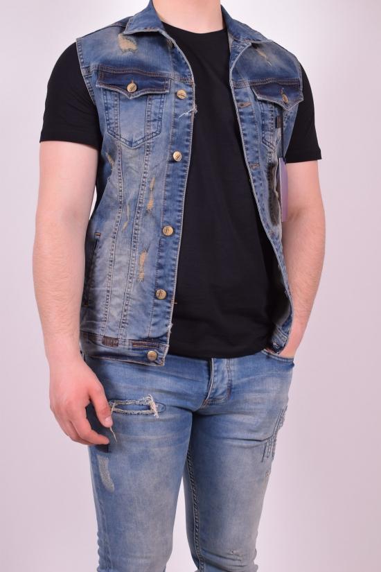 Жилетка джинсовая мужская (цв.синий) BigCastino (Cotton 95%,Lycra 5%) Размеры в наличии : 42,44 арт.2030