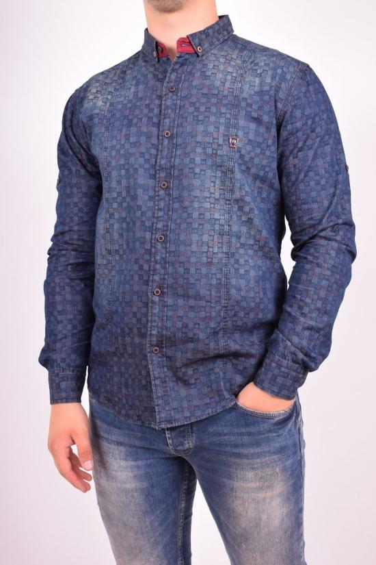 Рубашка мужская джинсовая  MANEVRA (Cotton 100%) Размер в наличии : 44 арт.16011