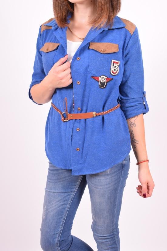 Рубашка-туника женская с поясом +майка(цв.синий) ELTI (Cotton 95%,Elastane 5%) Размеры в наличии : 42,44 арт.6448