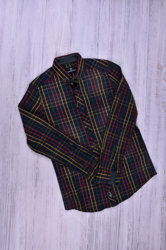Рубашка мужская  (цв.т.синий/красный) 100% котон MANEVRA Размер в наличии : 42 арт.16062