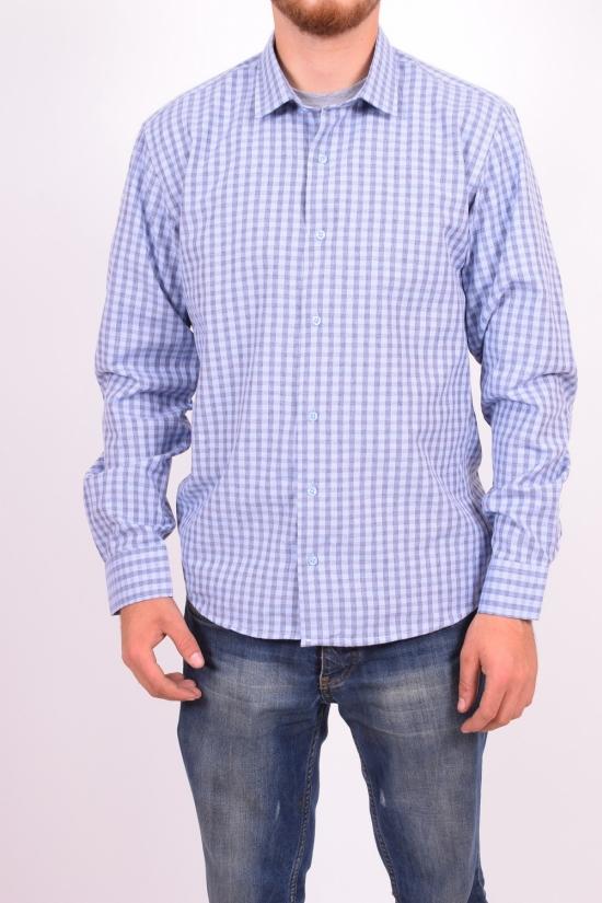 Рубашка мужская  (цв.голубой) (slim fit)  businessX (Cotton 70%,Polyester 30%) Размеры в наличии : 44,46 арт.клетка
