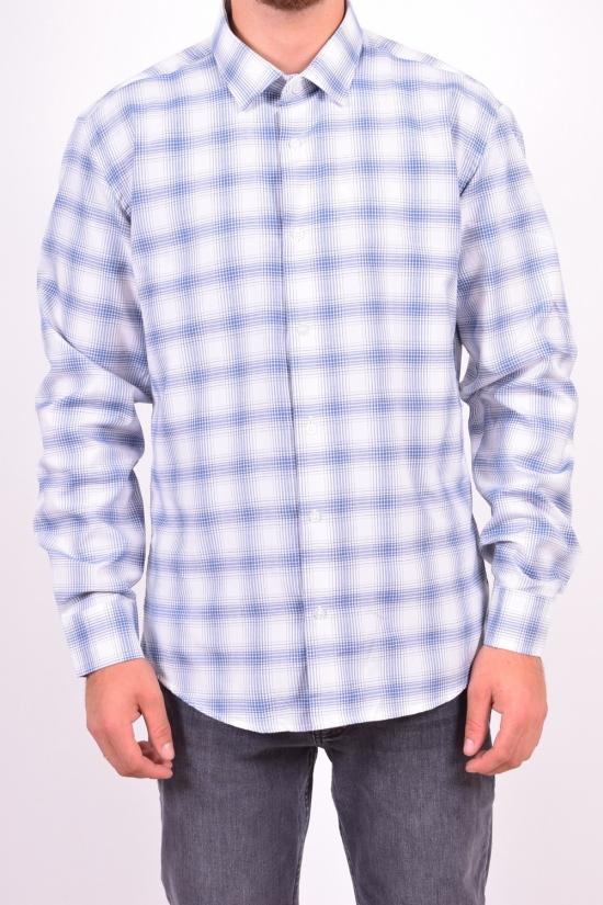 Рубашка мужская  (цв.белый/синий) (slim fit)  VIA LARENTA (Cotton 70%,Polyester 30%) Размеры в наличии : 44,46,48,50 арт.клетка