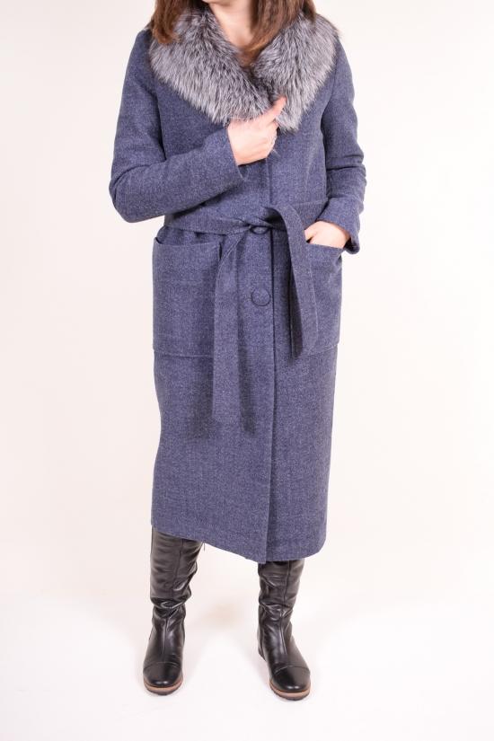 Пальто женское шерстяное (цв.т/синий) с натуральным мехом LUIZA WOOMAN Размер в наличии : 44 арт.Эмилия