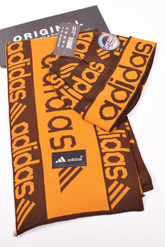 Комплект мужской вязаный (шапка+шарф)-цв.горчичный/коричневый арт.Adidas