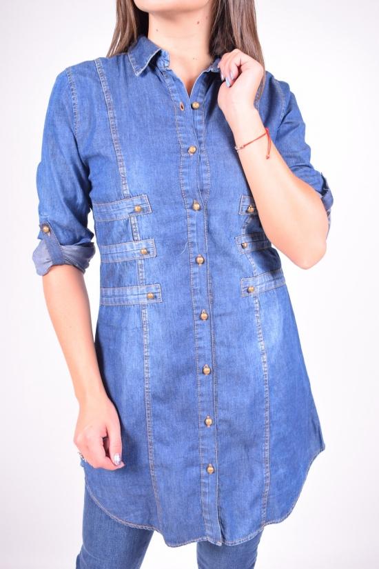 Рубашка  женская котоновая (цв.т/синий) Madoy Размер в наличии : 42 арт.4090