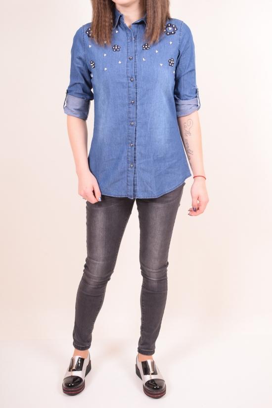 Рубашка  женская котоновая (цв.синий)   Madoy Размер в наличии : 40 арт.2226