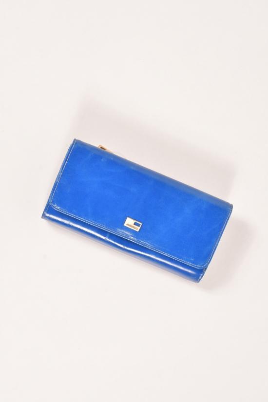 Кошелёк женский кожаный лаковый (color.blue) размер 19/9 см. JCCS арт.JS6132