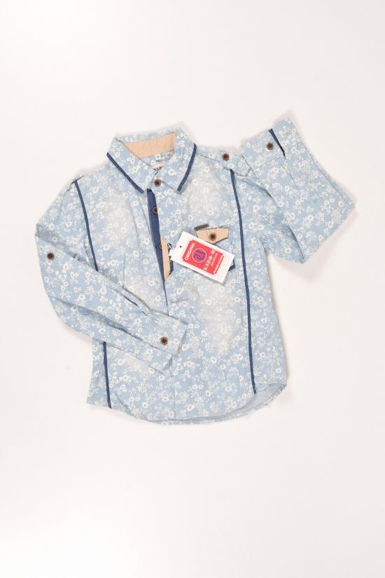 Рубашка для мальчика котоновая (цв.голубой) Роста в наличии : 92,98,104,110 арт.7057