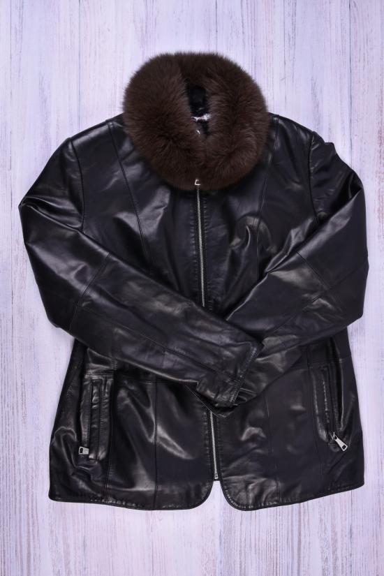 Куртка женская(color Black) из эко кожи опушка-натуральный мех ELLAFONISS Размер в наличии : 50 арт.18003