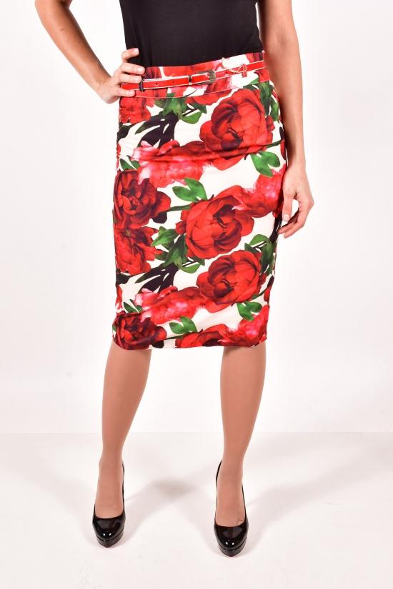 Юбка женская с поясом (цв. кремовый/бордовый) Miss&More Размер в наличии : 42 арт.212