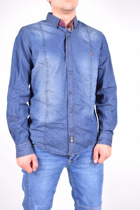 Рубашка мужская  (цв.синий) 100% котон MANEVRA Размер в наличии : 44 арт.16053
