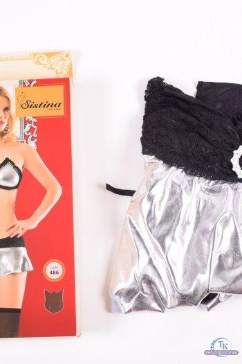 Комплект женского эротического белья (цв.чёрный/серебро) Sistina Размер в наличии : 44 арт.486