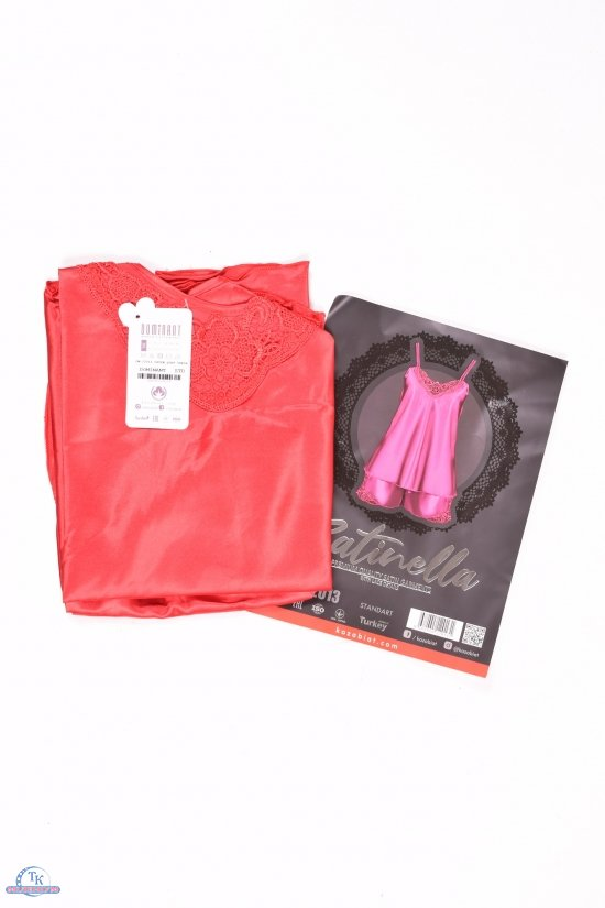 Комплект атласный (цв.красный) майка тонкая бретель+шорты  DEEP Sleep  размер 42-44 арт.12013