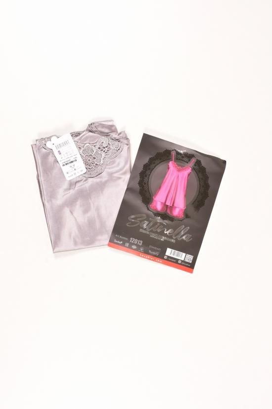 Комплект атласный (цв.серый) майка тонкая бретель+шорты  DEEP Sleep  размер 42-44 арт.12013