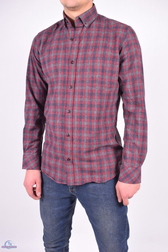 Рубашка мужская шерстяная (цв.бордовый) RENOVI Размеры в наличии : 42,44,46 арт.0940CR