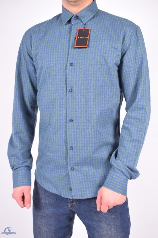Рубашка мужская шерстяная (цв.зеленый) RENOVI Размеры в наличии : 42,44 арт.0940CR