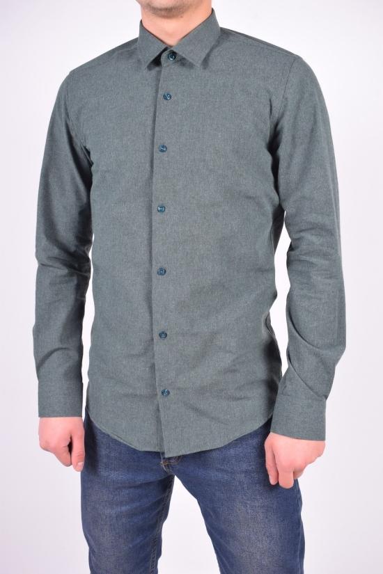 Рубашка мужская шерстяная (цв.т/зеленый) RENOVI Размеры в наличии : 42,44 арт.1942CR