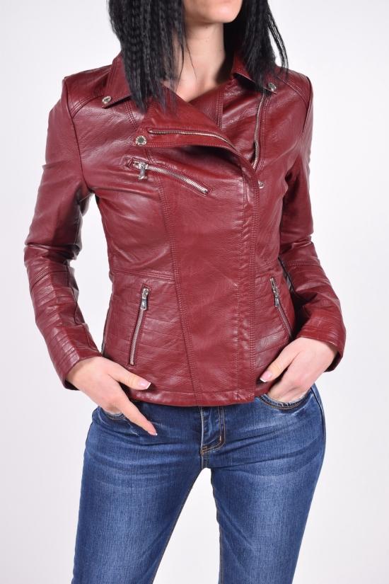 Куртка женская из (цв.бордовый) кожзаменителя демисезонная LANMAS Размер в наличии : 40 арт.5852