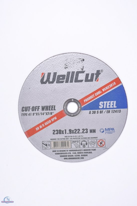 Диск отрезной по металлу Wellcut 230*1.9*22 арт.230*1.9*22