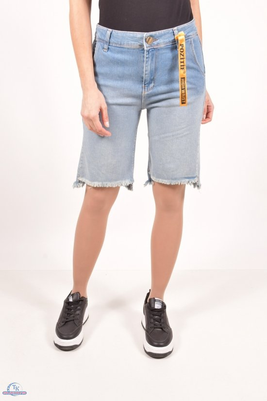 Шорты джинсовые женские стрейчевые (color 1) Pozitif Размеры в наличии : 26,27,28,29,30 арт.7366