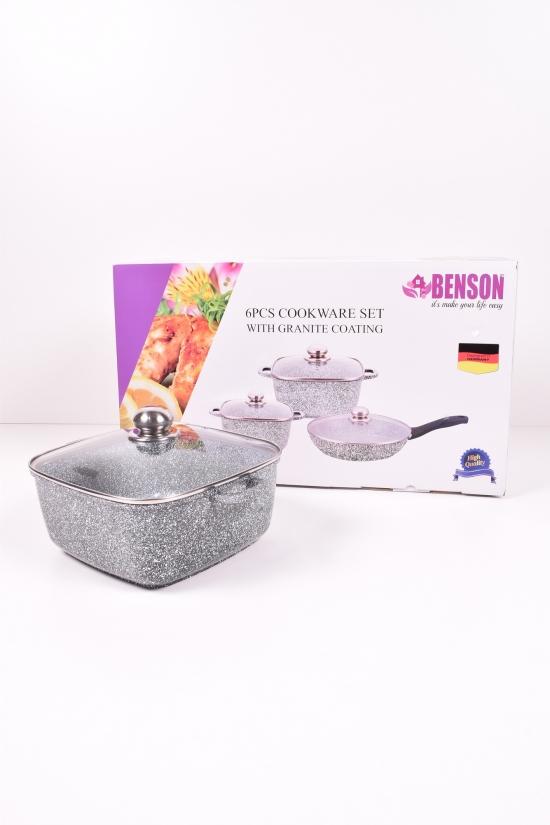 Набор кастрюль литых из 6 предметов ( (3,0л/5,1л+сковорода) Benson арт.BN-326