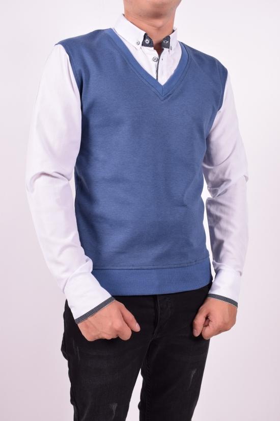 Рубашка-обманка мужская  (цв.синий) Stendo Размер в наличии : 46 арт.S19-1214