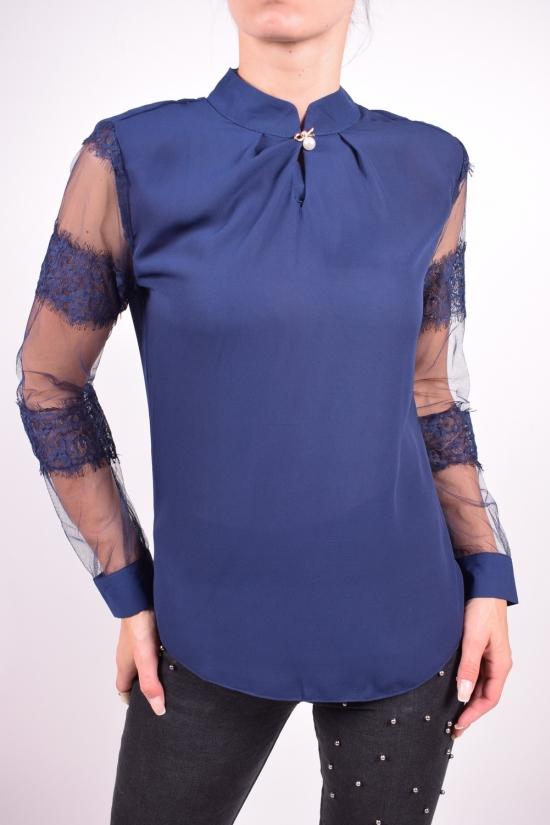 Блуза женская (цв.т/синий) шифоновая  Qianzhidu Размеры в наличии : 40,42,44,46,48 арт.50526