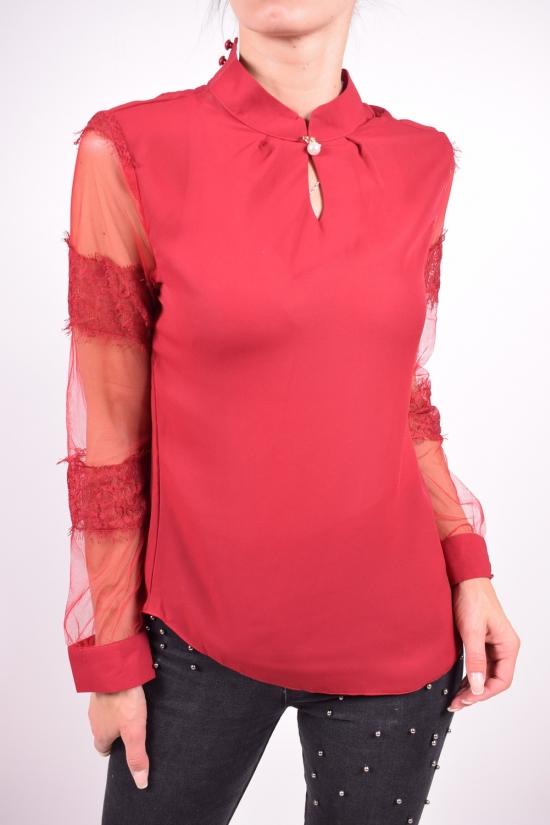 Блуза женская (цв.бордовый) шифоновая  Qianzhidu Размеры в наличии : 40,42,44,46,48 арт.50526