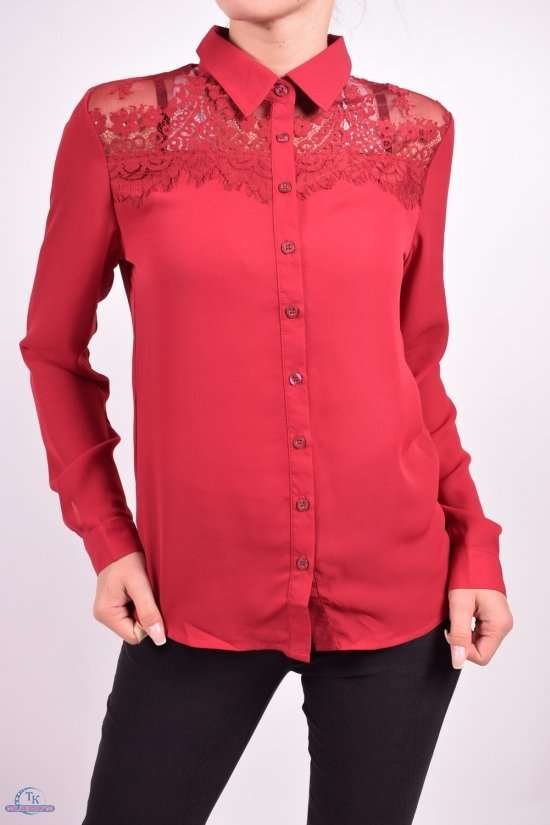 Блуза женская (цв.бордовый) шифоновая  Qianzhidu Размеры в наличии : 40,42,44,46,48 арт.50521