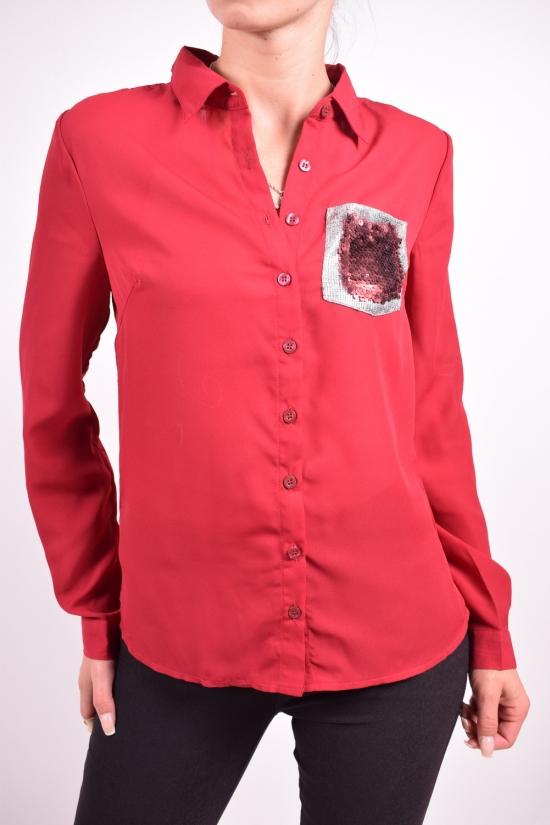 Блуза женская (цв.бордовый) шифоновая Qianzhidu Размеры в наличии : 40,42,44,46,48 арт.50527