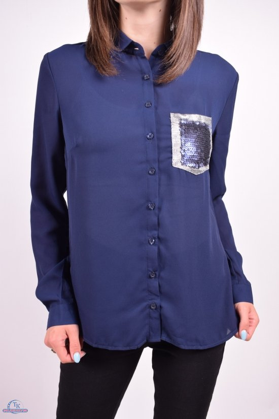 Блуза женская (цв.т/синий) шифоновая Qianzhidu Размеры в наличии : 40,42,44,46,48 арт.50527