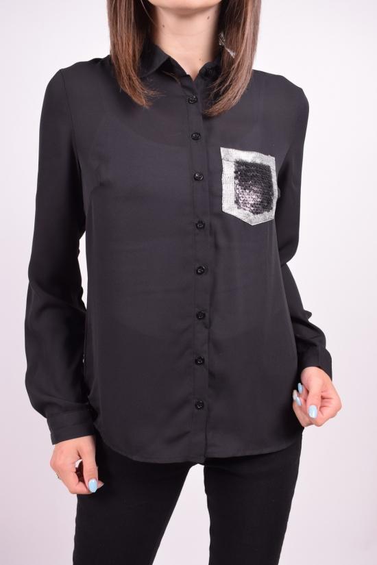 Блуза женская (цв.черный) шифоновая Qianzhidu Размеры в наличии : 40,42,44,46,48 арт.50527