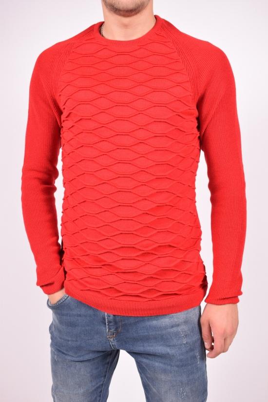 Свитер мужской тонкой вязки (цв.красный) Lagos Размеры в наличии : 40,42,44,46 арт.2303