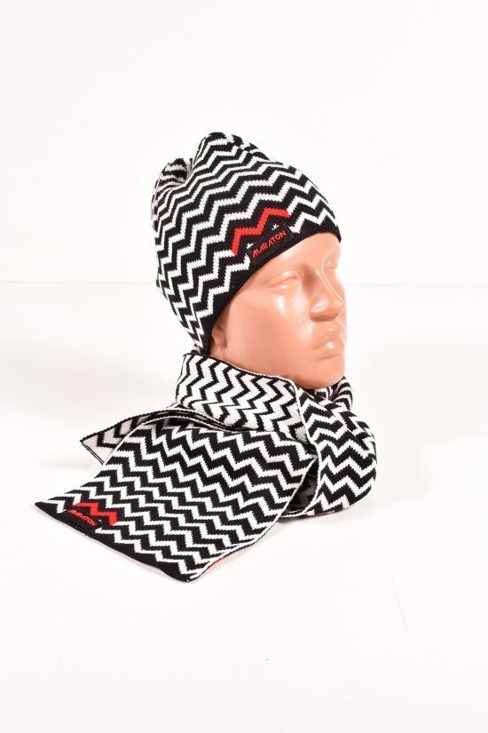 Шапка+шарф вязаный мужской (цв.черный/белый) MARATON арт.613-TK