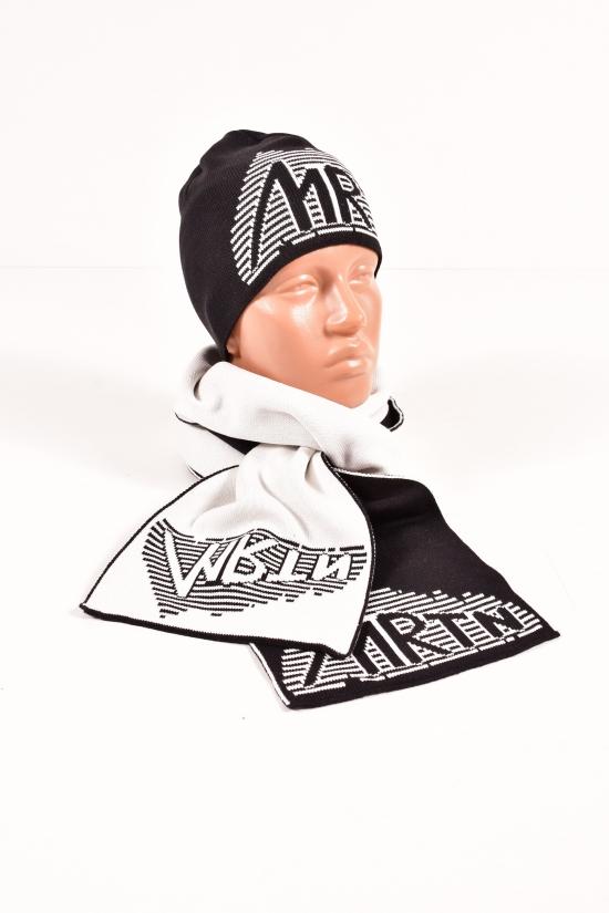 Шапка+шарф вязаный мужской (цв.черный/белый) MARATON арт.614-TK
