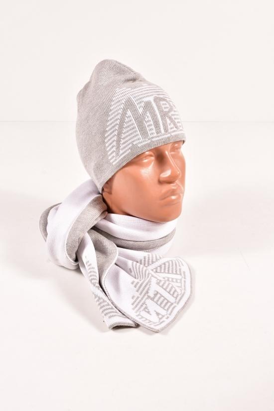 Шапка+шарф вязаный мужской (цв.св/серый/белый) MARATON (Acryl 50%,Cotton 50%) арт.614-A